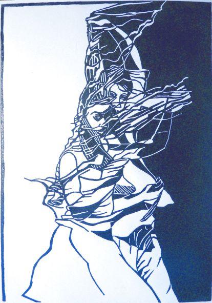 Le Calonnec Martine - Turbulences - Linogravure - 40x50cm